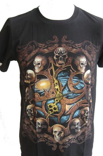 Clock Of Skulls ' Glow In The Dark ' T Shirt With Large Colour Back Print